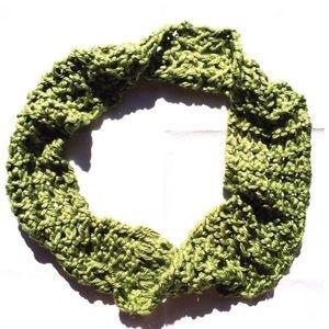 Hand Knit Green Crochet Infinity Scarf